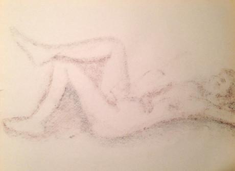 Nude Female Lying Down Rubbing