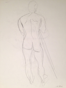 Male Nude Standing with Pole