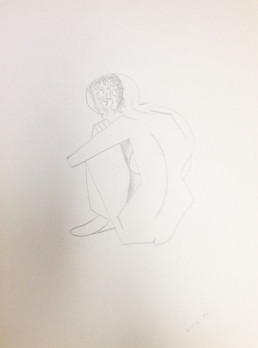 Nude Female Crouched