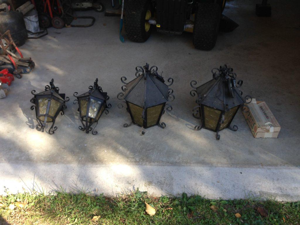 Outdoor steel/glass lamp fixtures $40 set