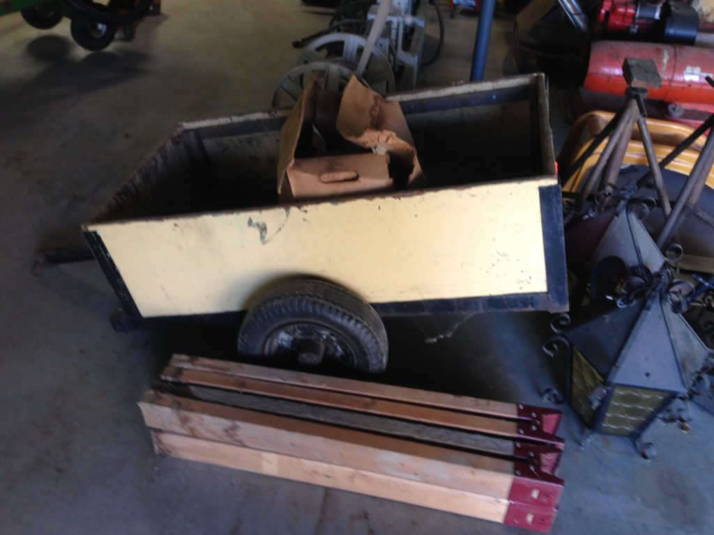 Garden Cart Steel with Wood Sides $50