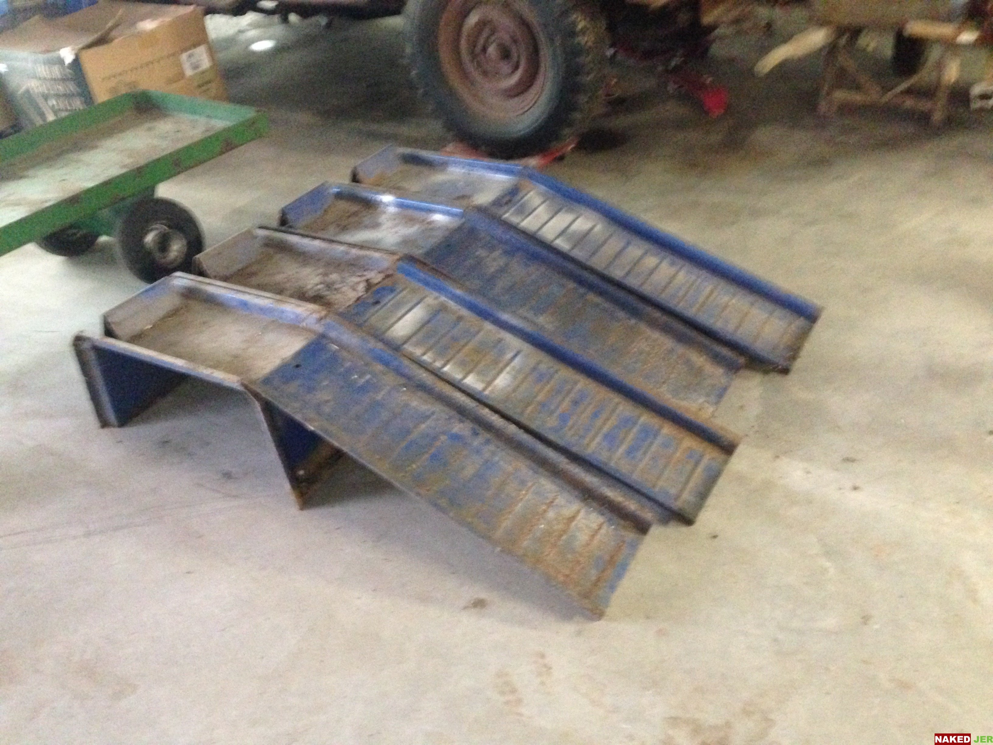 Automotive car/truck ramps.  Steel, 8 peices. $75