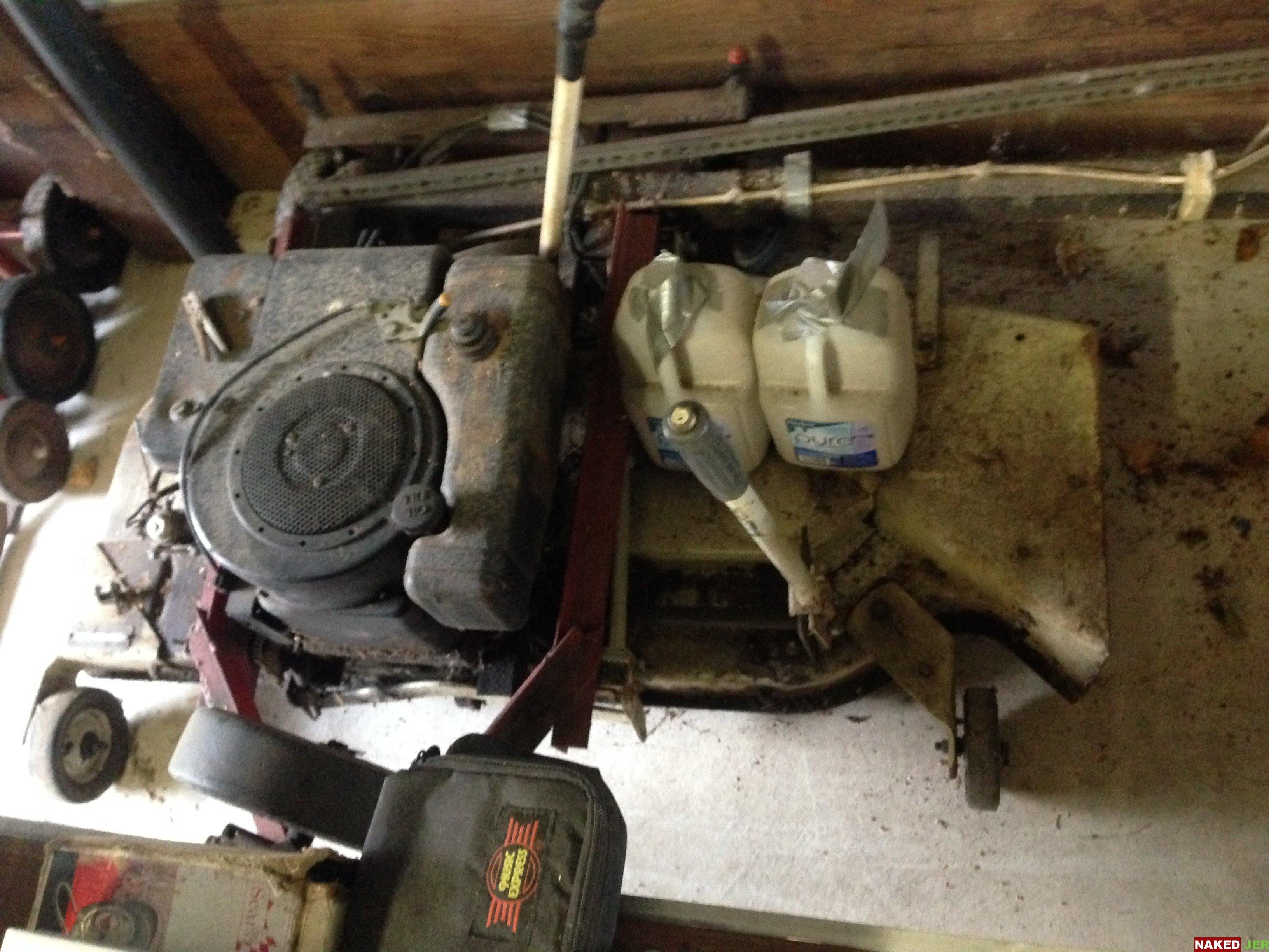 Drag behind mower deck and engine $75