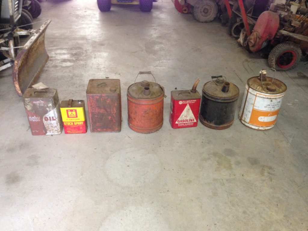 Assorted Vintage Gas Cans.  $10-$50