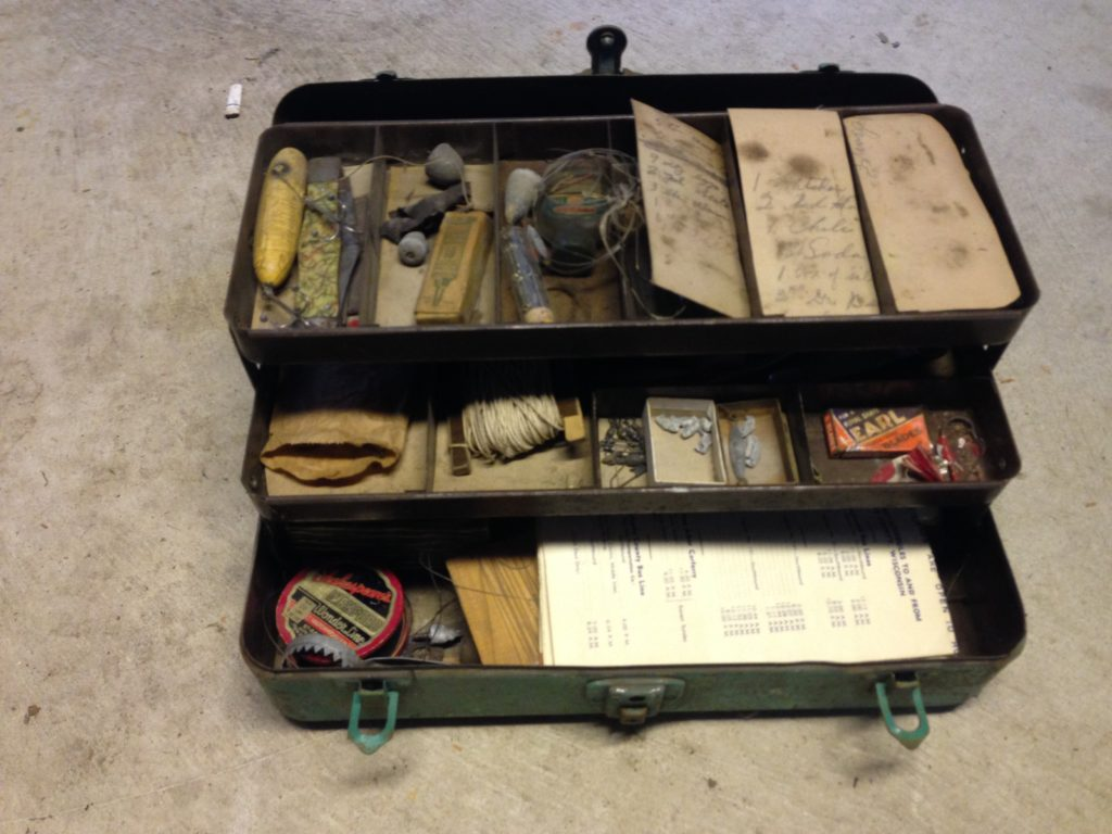 SOLD Vintage Fishing Tackle and Box $75