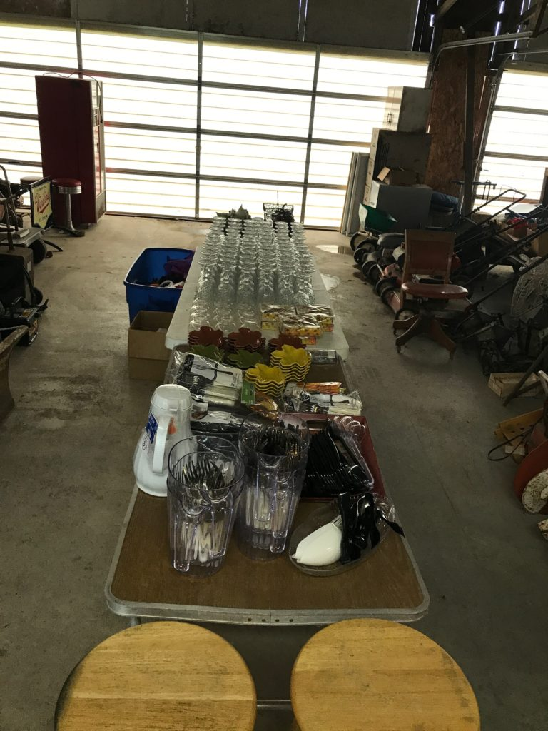 Glasswear, catering items, forks, serving spoons, plates, table settings, etc.