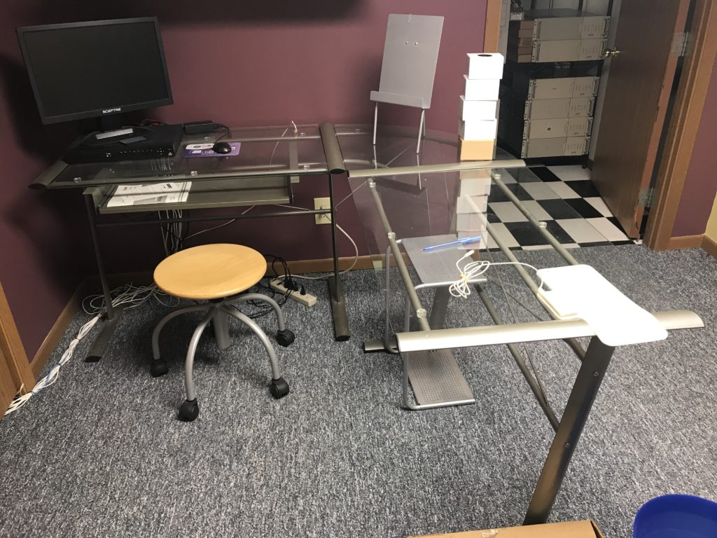 Glass top L-Shaped desk and stool